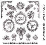 set of ornamental boho style... | Shutterstock .eps vector #298577210