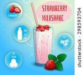delicious strawberry milkshake... | Shutterstock .eps vector #298593704