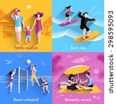 people on beach design concept... | Shutterstock .eps vector #298595093
