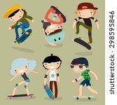 skateboard characters set.... | Shutterstock .eps vector #298595846