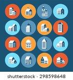 flat colored building urban... | Shutterstock . vector #298598648