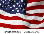closeup of ruffled american flag | Shutterstock . vector #298603643