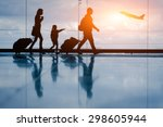 silhouette of young family and... | Shutterstock . vector #298605944