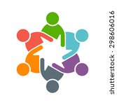 people logo. group of five in a ... | Shutterstock .eps vector #298606016