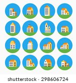 a set of icons in a flat urban... | Shutterstock . vector #298606724