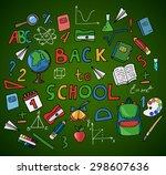 set of hand drawn school... | Shutterstock .eps vector #298607636