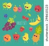 fruit set. apple  lemon  lime ... | Shutterstock .eps vector #298610123