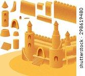 sand castle  set of component... | Shutterstock .eps vector #298619480