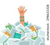 pile of books and overwhelmed... | Shutterstock .eps vector #298621328