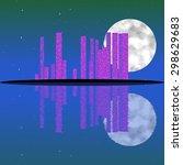 blue night. island landscape ... | Shutterstock . vector #298629683