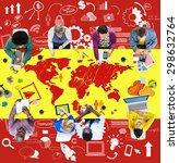 business teamwork global... | Shutterstock . vector #298632764