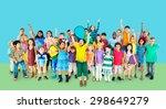 multiethnic children smiling... | Shutterstock . vector #298649279