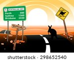 kangaroo standing on road in... | Shutterstock .eps vector #298652540