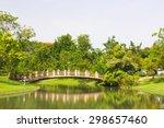 bend bridge for cross canal... | Shutterstock . vector #298657460