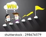 businessman climbing ladder to... | Shutterstock .eps vector #298676579
