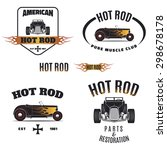 set of hot rod style labels ... | Shutterstock .eps vector #298678178