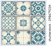 collection of 9 ceramic tiles ... | Shutterstock .eps vector #298679234