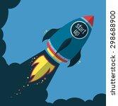 start up rocket flies up  flat... | Shutterstock .eps vector #298688900