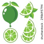 vector lime. lime slices and... | Shutterstock .eps vector #298695794