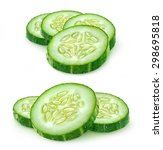 isolated cucumber slices.... | Shutterstock . vector #298695818