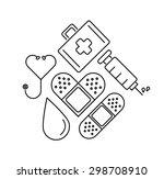 minimal flat line medical... | Shutterstock .eps vector #298708910