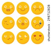 set of basic emoticons in flat...   Shutterstock .eps vector #298712828
