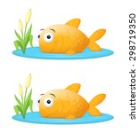 Big fish in a small pond, or fish out of water illustration.