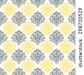 yellow  gray   white damask...   Shutterstock .eps vector #298720529