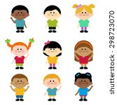 multicultural group of kids | Shutterstock . vector #298723070