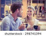 cute couple looking at each... | Shutterstock . vector #298741394