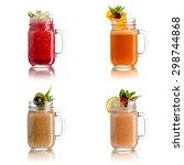 fresh juices in jar | Shutterstock . vector #298744868