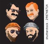 men faces isolated on black.... | Shutterstock .eps vector #298748714