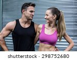 muscular couple looking at each ... | Shutterstock . vector #298752680