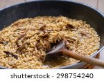 wild mushrooms risotto with... | Shutterstock . vector #298754240