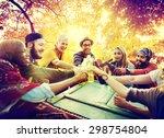 diverse people friends hanging... | Shutterstock . vector #298754804