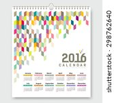 calendar 2016  colorful... | Shutterstock .eps vector #298762640