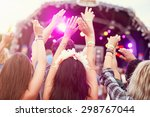 audience with hands in the air... | Shutterstock . vector #298767044