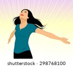 vector illustration of a girl... | Shutterstock .eps vector #298768100