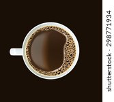 white cup of black coffee with... | Shutterstock .eps vector #298771934