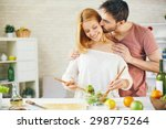 affectionate young man kissing... | Shutterstock . vector #298775264