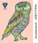 zentangle style owl vector | Shutterstock .eps vector #298777994