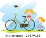illustration of two girls and... | Shutterstock . vector #29879185