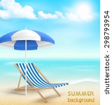 beach with sun beach umbrella... | Shutterstock . vector #298793954