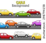 multicolored cars on road.... | Shutterstock . vector #298794158