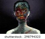 psychedelic surreal portrait of ... | Shutterstock . vector #298794323