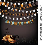 halloween party pumpkins... | Shutterstock .eps vector #298804574