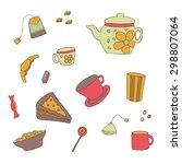 set of colored tea items... | Shutterstock . vector #298807064