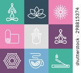 vector yoga icons and line... | Shutterstock .eps vector #298815374