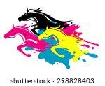 print colors as running horses. ... | Shutterstock .eps vector #298828403