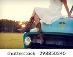 boots and blue truck | Shutterstock . vector #298850240